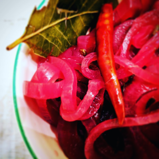 Pickled Red Onions, Screaming Goat Taqueria, Sarasota, Florida